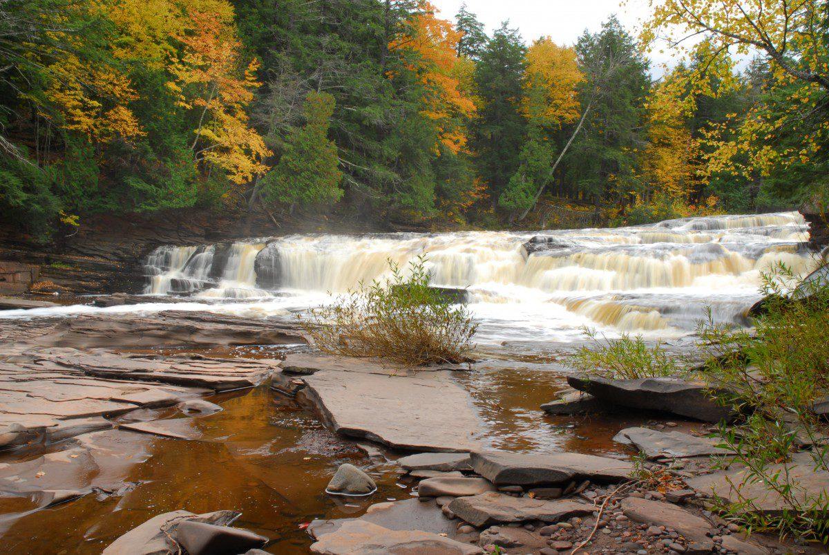 Manido Falls  -  Presque Isle River Scenic Area  -  Porcupine Mountains Wilderness State Park, Michigan