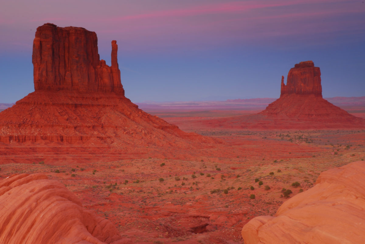 East and West Mittens in late-day light  -  Monument Valley Navajo Tribal Park, Arizona
