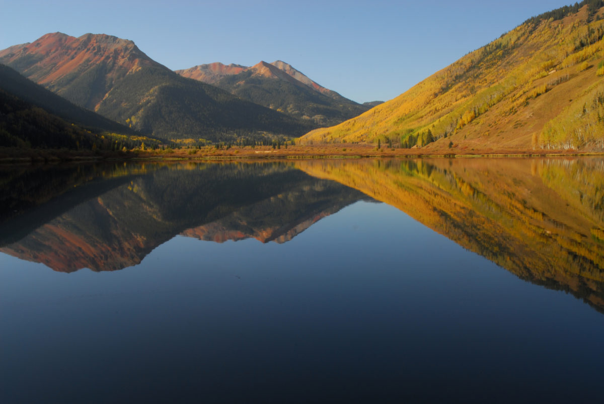 Aspens, Red Mountains reflected in Crystal Lake  -  Uncompahgre National Forest, Colorado