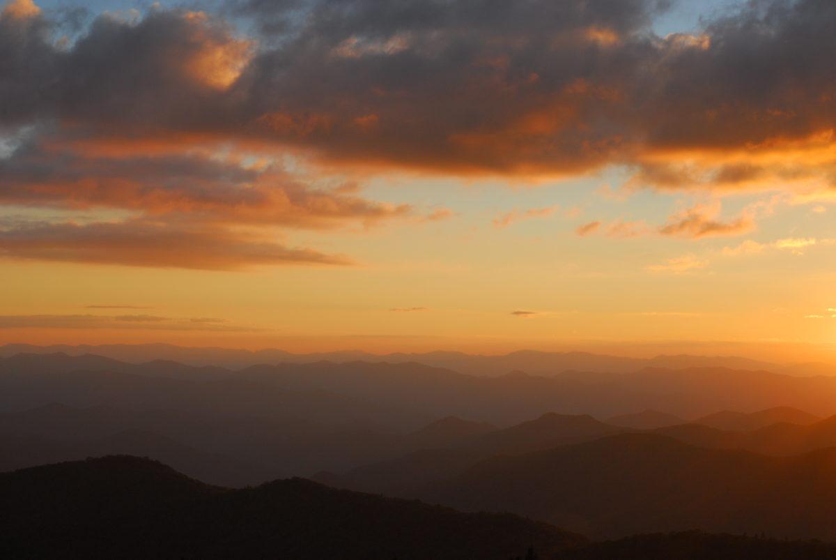 Sunset over mountain ridges  -  Blue Ridge Parkway, North Carolina