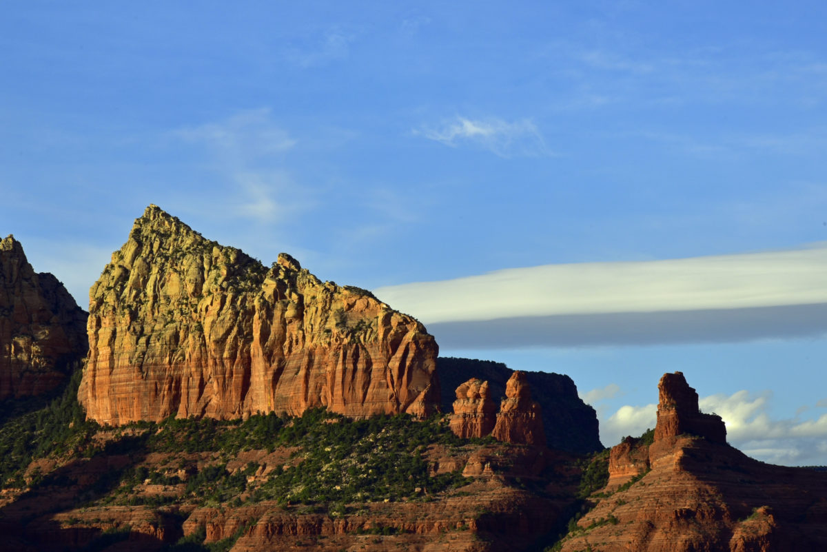 Red Rock Formation and Lenticular Cloud  -  Sedona, Arizona