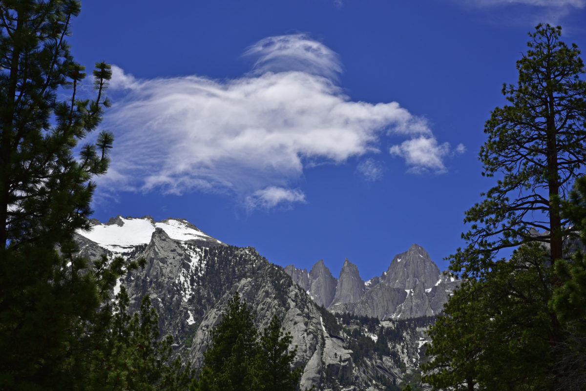 Clouds and Mt. Whitney (right)  -  Mt. Whitney Trail  -   Inyo National Forest, California