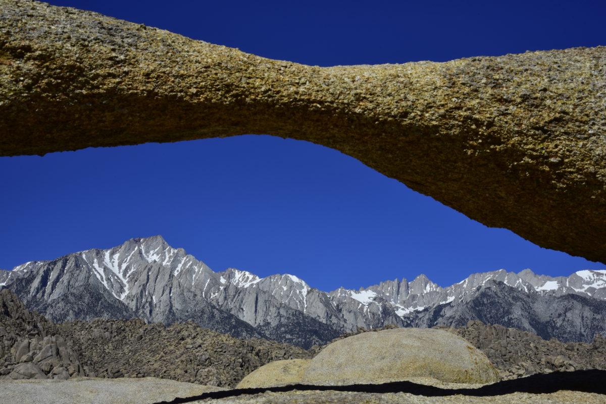 Eastern Sierra Nevada through Lathe Arch  -  Arch Loop Trail  -   Alabama Hills Recreation Area, California
