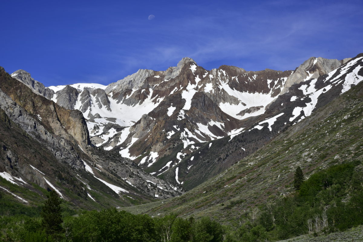 View of snow-covered peaks  -  McGee Creek Road  -  Inyo National Forest, California