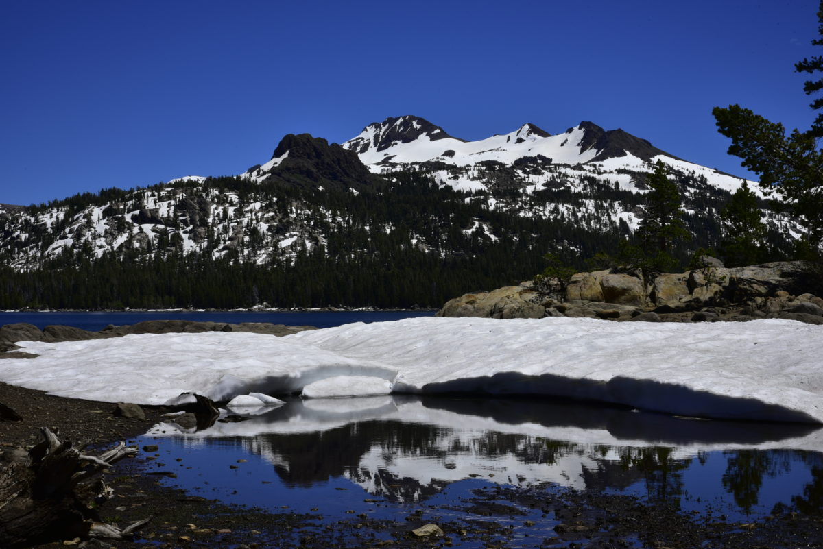 Snow and reflection in Caples Lake  -  Eldorado National Forest, California