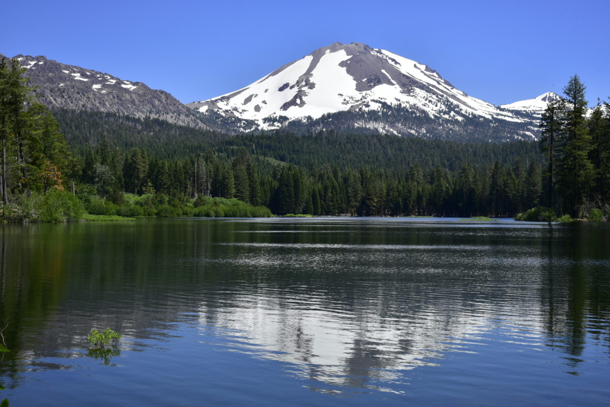 Lassen Peak, Reflection in Manzanita Lake  -  Lassen Volcanic National Park, California